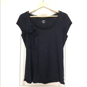 Ann Taylor LOFT navy t-shirt with loose bow